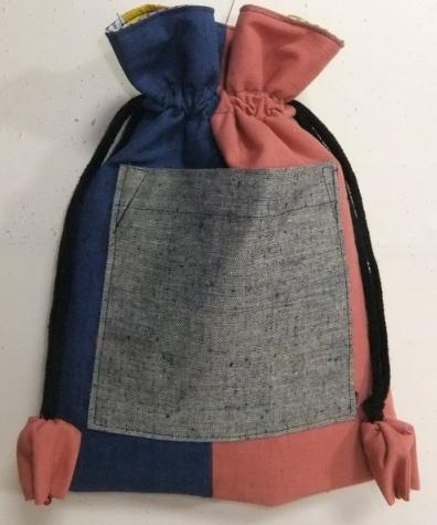 着物リメイク 四国の土佐紬で作った巾着袋  1689
