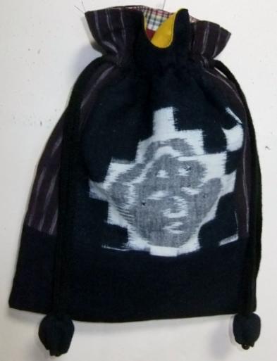 着物リメイク 久留米の絵絣で作った巾着袋 1702