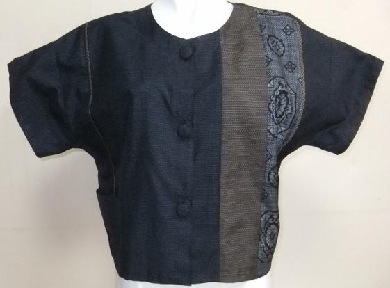 着物リメイク 藍大島で作ったジャケット 1704