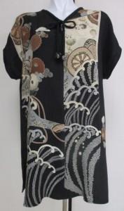 着物リメイク 絞りと花柄の着物で作った和風財布 2189