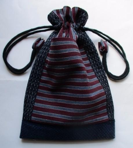 着物リメイク 男絣と唐桟縞で作った巾着袋 2449