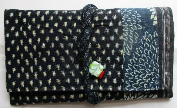 送料無料 男絣と型染めで作った和風財布・ポーチ 2603