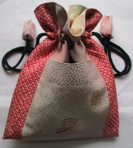 送料無料 絞りと訪問着で作った巾着袋 2633