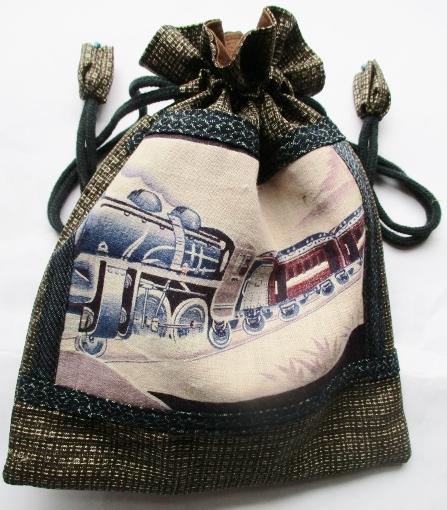 送料無料 綿大島紬で作った巾着袋 2684