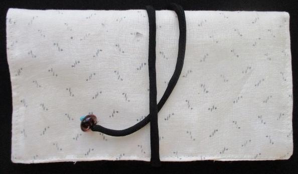 送料無料 麻の白絣で作った和風財布・ポーチ 3738
