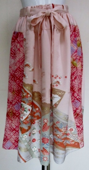 送料無料 振袖と絞りの着物で作ったスカート 2786