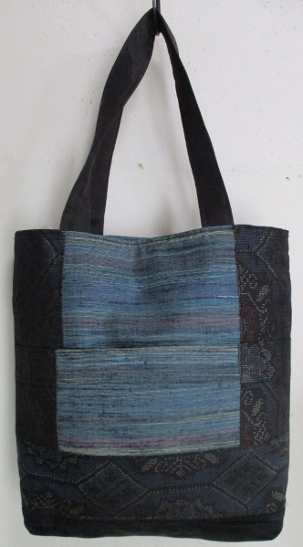 送料無料 藍大島紬と手織りの帯で作った手提げ袋 2788