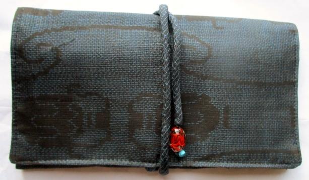 送料無料 夏大島紬で作った和風財布・ポーチ 2791