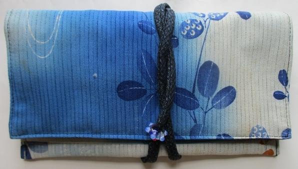 送料無料 絽の着物で作った和風財布・ポーチ 2809