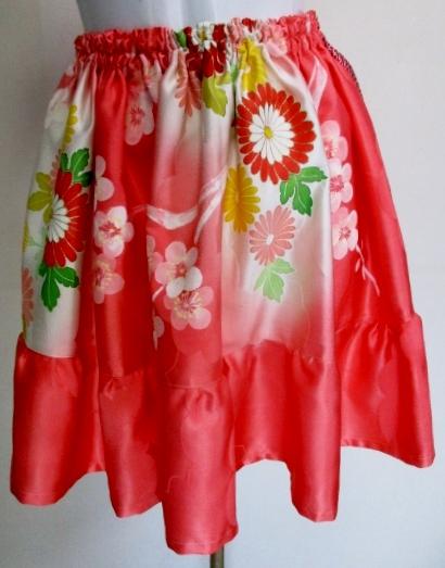 送料無料 花柄の振袖で作ったミニスカート 2822