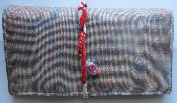 送料無料 色大島紬で作った和風財布・ポーチ 2836