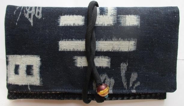 送料無料 久留米の絵絣と男絣で作った和風財布・ポーチ 2864
