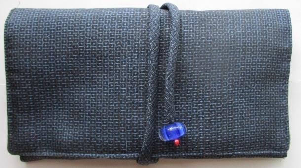 送料無料 藍大島紬で作った和風財布・ポーチ 2868