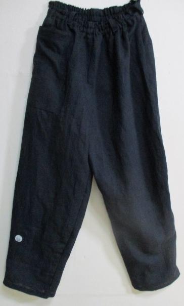 送料無料 綿の黒の留袖で作ったパンツ 2875