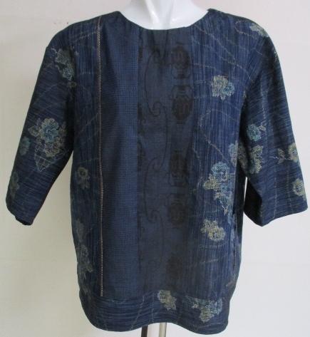 送料無料 紬と藍大島紬で作ったプルオーバー 2880
