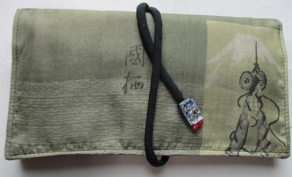 送料無料 男性用の長襦袢で作った和風財布・ポーチ 2907