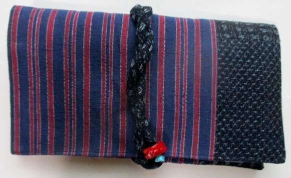 送料無料 唐桟縞の着物と絣で作った和風財布・ポーチ 2948