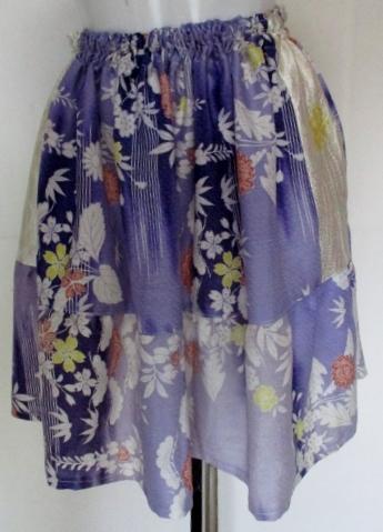 送料無料 絞りと花柄の着物で作ったミニスカート 2965