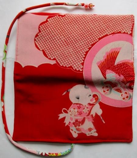 送料無料 正絹の長襦袢で作った和風財布・ポーチ 2993