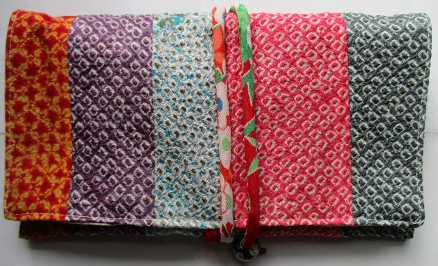 送料無料 絞りの羽織を組み合わせて作った和風財布・ポーチ3021