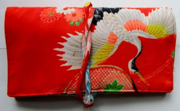 送料無料 女の子の着物で作った和風財布・ポーチ3038