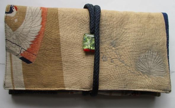 送料無料 綿地の羽織裏で作った和風財布・ポーチ 3061