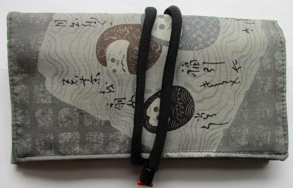 送料無料 男性用の正絹の長襦袢で作った和風財布・ポーチ 3122