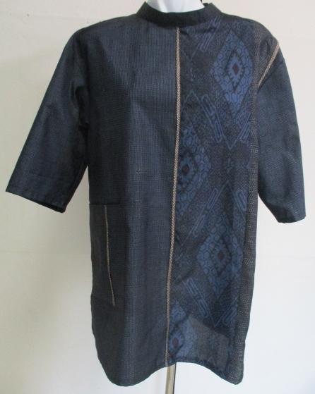 送料無料  藍大島紬で作ったプルーオーバー 3131