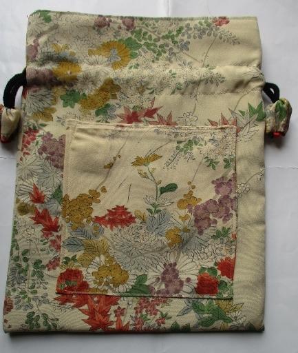 送料無料 花柄の訪問着で作った巾着袋 3144