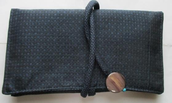 送料無料 藍大島紬で作った和風財布・ポーチ3165
