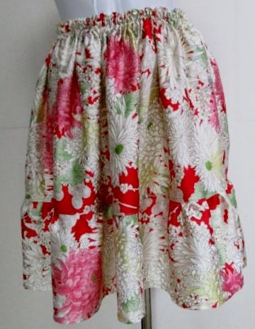送料無料 花柄の振袖で作ったミニスカート 3190