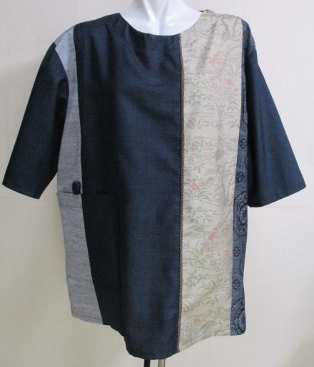 送料無料 藍大島紬と紬で作ったプルオーバー 3195