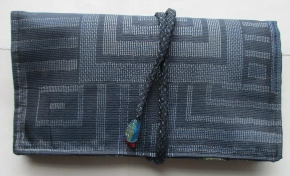 送料無料 藍大島紬で作った和風財布・ポーチ 3208