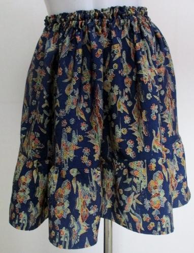 送料無料 小紋の着物で作ったミニスカート 3216