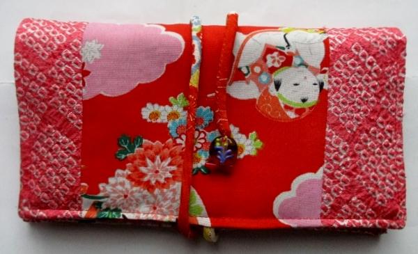 送料無料 絞りと女の子の着物で作った和風財布・ポーチ 3225