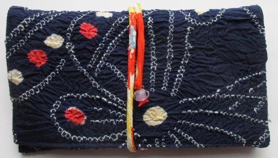 送料無料 絞りの浴衣で作った和風財布・ポーチ 3234