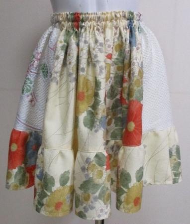 送料無料 花柄の訪問着と絞りを組み合わせたミニスカート3238