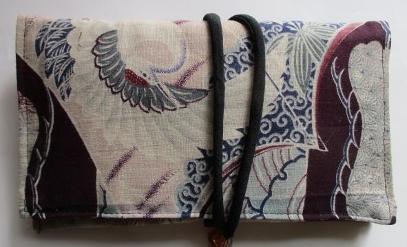 送料無料 綿の羽織裏で作った和風財布・ポーチ 3252
