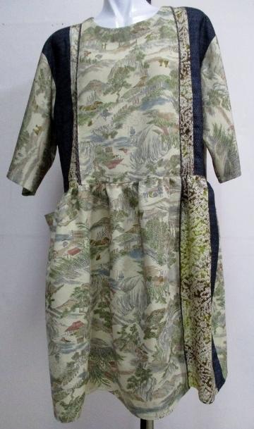 送料無料 小紋の着物と藍大島紬で作ったチュニック 3279