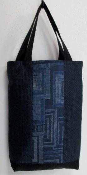 送料無料 藍大島紬の着物で作った手提げ袋 3314