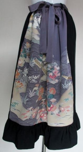 着物リメイク 花柄の振袖で作ったスカート 3318