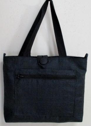 送料無料 藍大島紬の着物で作った手提げ袋 3330