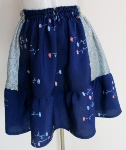 送料無料 絞りと花柄の着物で作ったミニスカート 3335