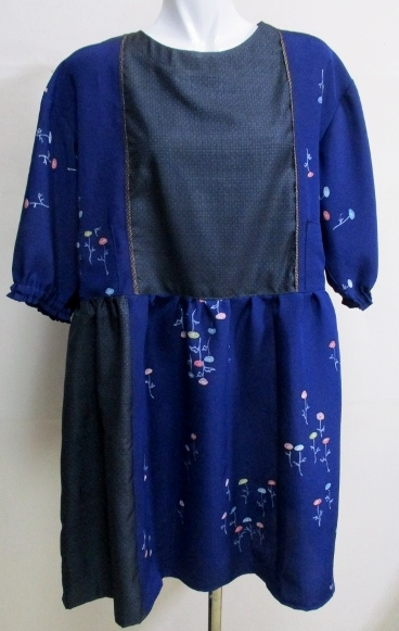 送料無料 花柄の着物と藍大島紬で作ったチュニック 3339