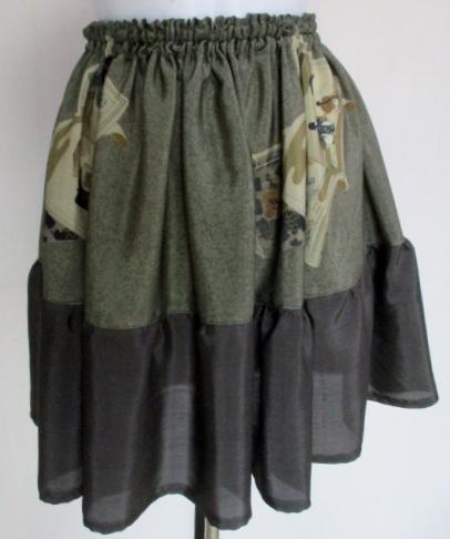 送料無料 男性用の長襦袢で作ったミニスカート3341
