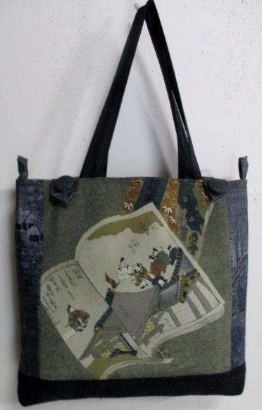 送料無料 男性用の長襦袢と大島紬で作った手提げ袋3342