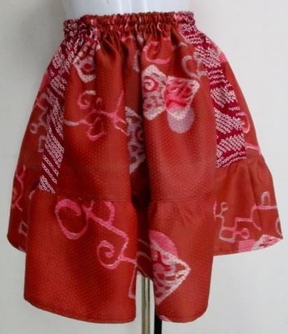送料無料 着物と絞りの羽織で作ったミニスカート 3360