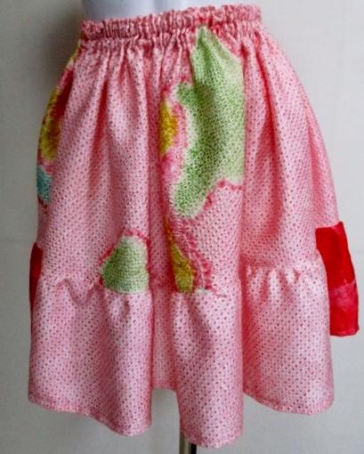 送料無料 絞りの羽織で作ったミニスカート 3369