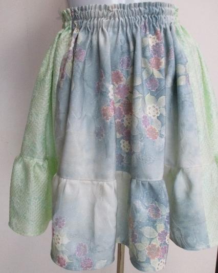 送料無料 絞りと紫陽花柄の訪問着で作ったミニスカート 3380