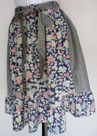 送料無料 色大島紬と花柄の着物で作った膝丈スカート3384